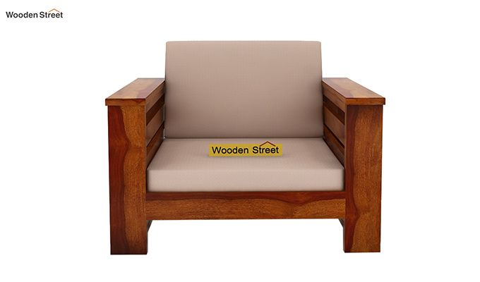 Sereta 1 Seater Wooden Sofa (Honey Finish)-2