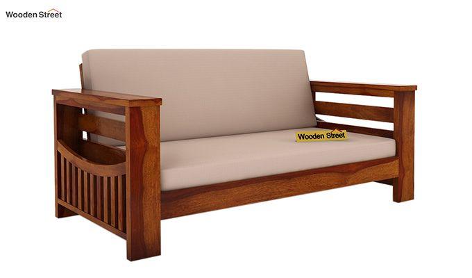 Sereta 2 Seater Wooden Sofa (Honey Finish)-1