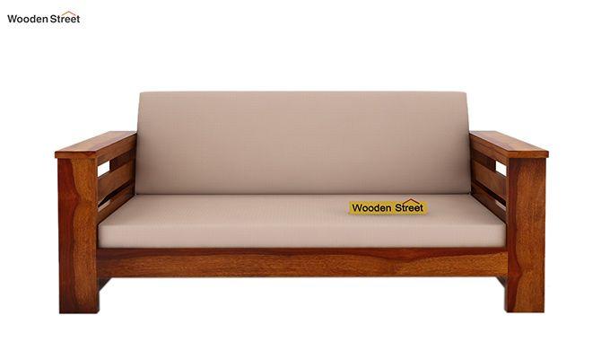 Sereta 2 Seater Wooden Sofa (Honey Finish)-2