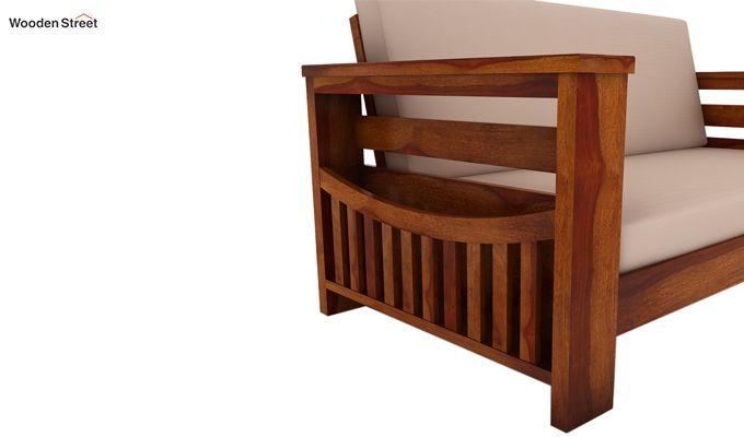 Sereta 2 Seater Wooden Sofa (Honey Finish)-3