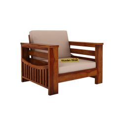 Sereta 1 Seater Wooden Sofa (Honey Finish)