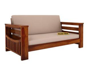 Sereta 2 Seater Wooden Sofa (Honey Finish)