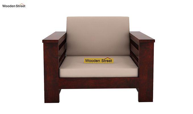 Sereta 1 Seater Wooden Sofa (Mahogany Finish)-2