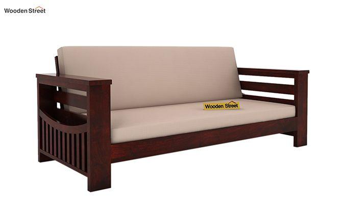 Sereta 3 Seater Wooden Sofa (Mahogany Finish)-1