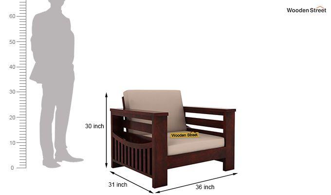 Sereta 1 Seater Wooden Sofa (Mahogany Finish)-4