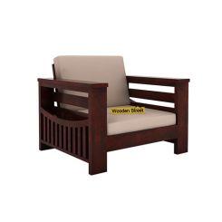Sereta 1 Seater Wooden Sofa (Mahogany Finish)