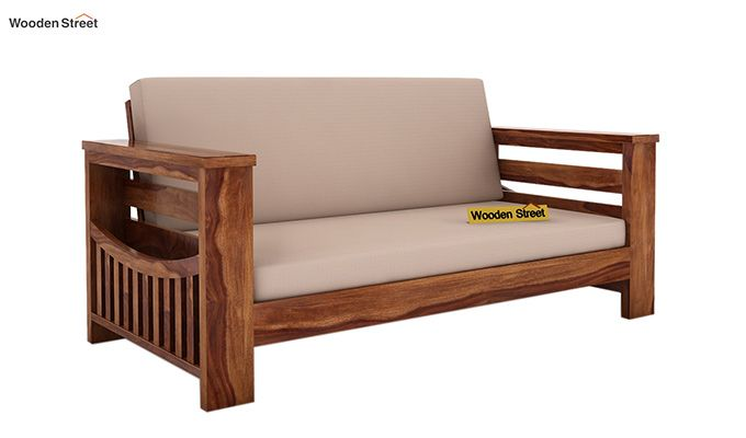 Sereta 2 Seater Wooden Sofa (Teak Finish)-1