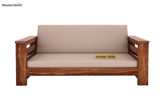 Sereta 2 Seater Wooden Sofa (Teak Finish)-2