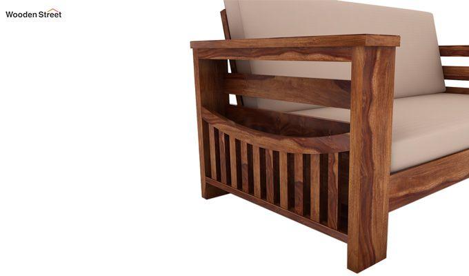 Sereta 2 Seater Wooden Sofa (Teak Finish)-3