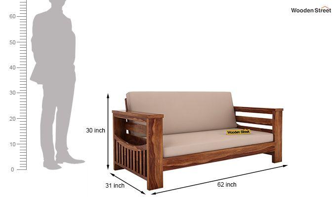 Sereta 2 Seater Wooden Sofa (Teak Finish)-4