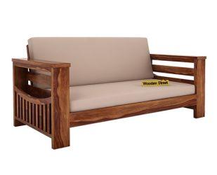 Sereta 2 Seater Wooden Sofa (Teak Finish)