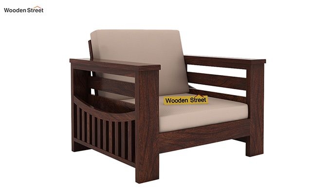 Sereta 1 Seater Wooden Sofa (Walnut Finish)-1