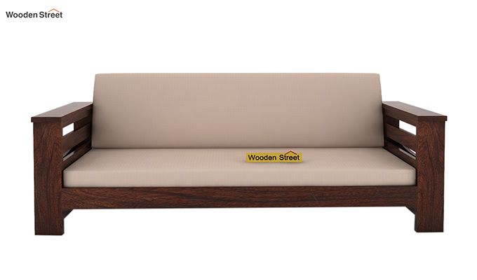 Sereta 3 Seater Wooden Sofa (Walnut Finish)-2