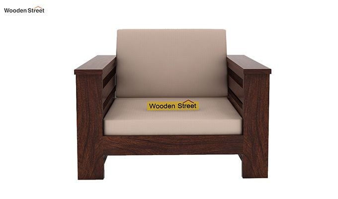 Sereta 1 Seater Wooden Sofa (Walnut Finish)-2