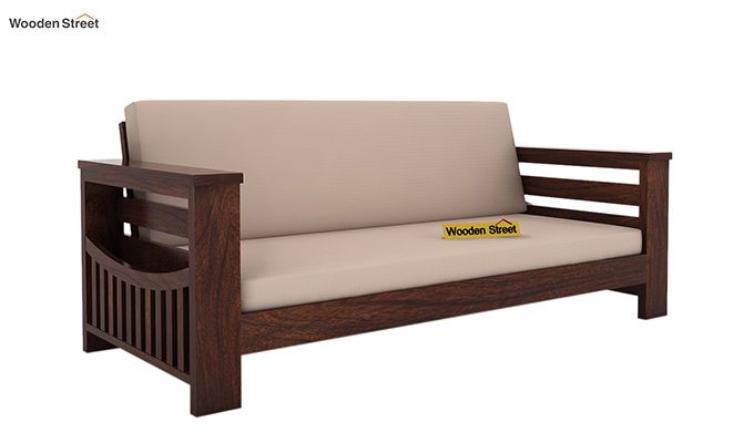 Sereta 3 Seater Wooden Sofa (Walnut Finish)-1