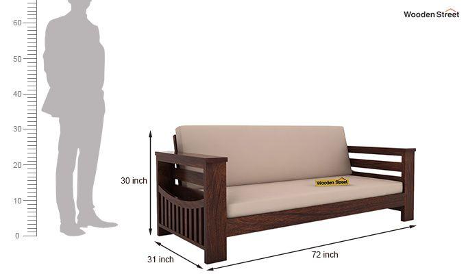 Sereta 3 Seater Wooden Sofa (Walnut Finish)-4