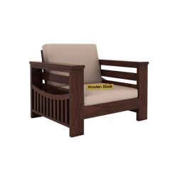 Sereta 1 Seater Wooden Sofa (Walnut Finish)