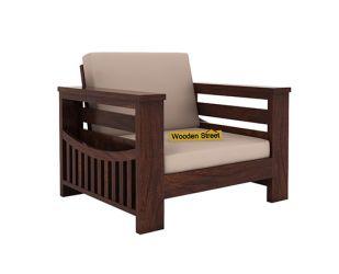 Sereta 1 Seater Wooden Sofa (Walnut Finish)