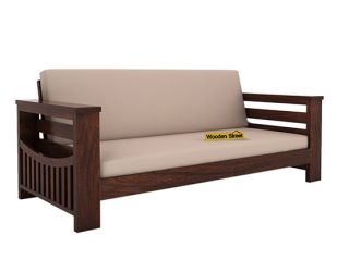 Sereta 3 Seater Wooden Sofa (Walnut Finish)