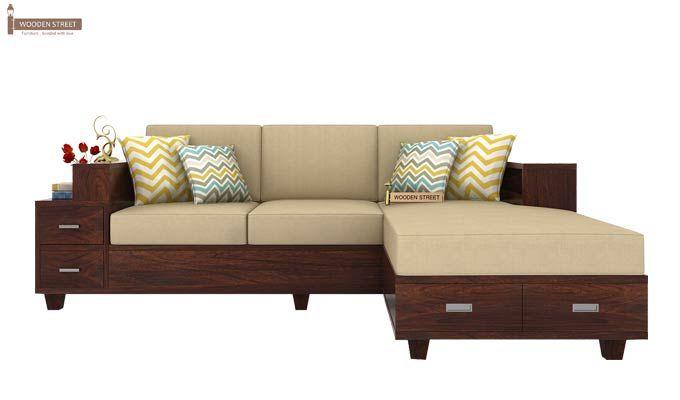 Solace Right L Shape Wooden Sofa (Walnut Finish)-2