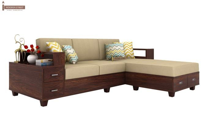 Solace Right L Shape Wooden Sofa (Walnut Finish)-3