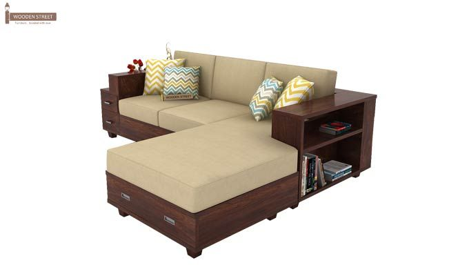Solace Right L Shape Wooden Sofa (Walnut Finish)-4