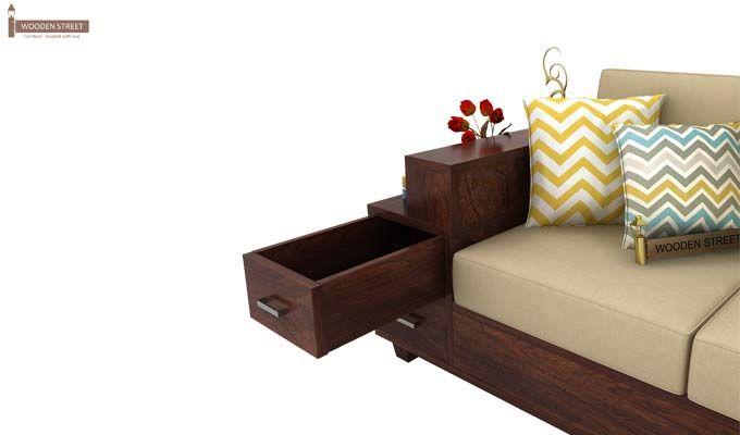 Solace Right L Shape Wooden Sofa (Walnut Finish)-5