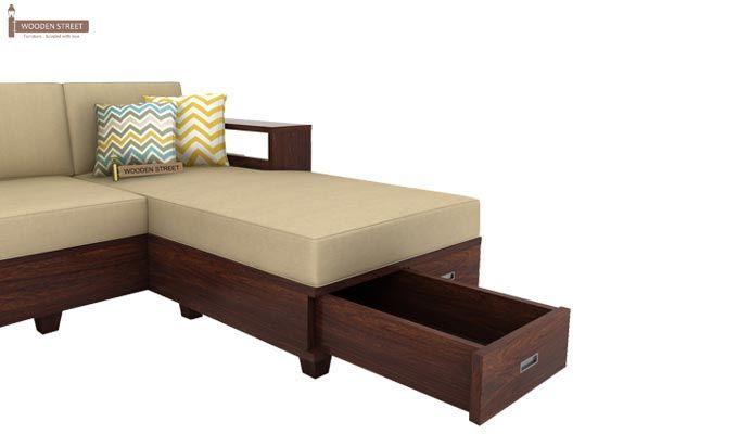 Solace Right L Shape Wooden Sofa (Walnut Finish)-6