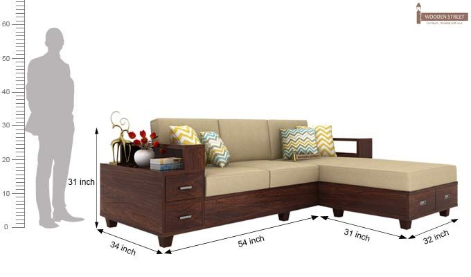 Buy Solace Right L Shape Wooden Sofa (Walnut Finish ...