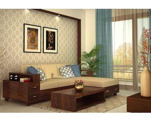 Solace Right L Shape Wooden Sofa (Walnut Finish)