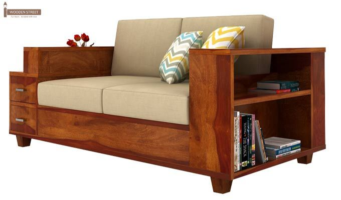 Solace 2 Seater Wooden Sofa (Honey Finish)-1