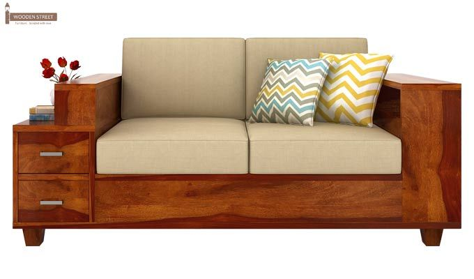 Solace 2 Seater Wooden Sofa (Honey Finish)-2
