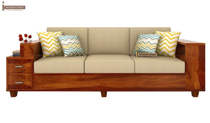 Solace 3 Seater Wooden Sofa (Honey Finish)-2