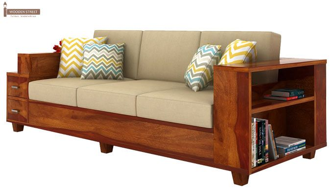 Solace 3 Seater Wooden Sofa (Honey Finish)-3