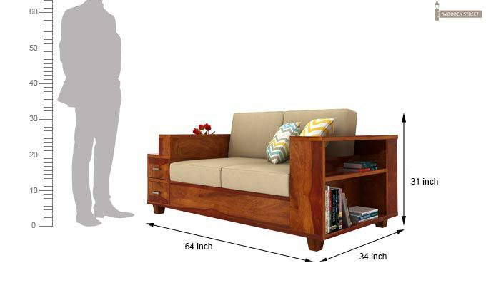 Solace 2 Seater Wooden Sofa (Honey Finish)-3