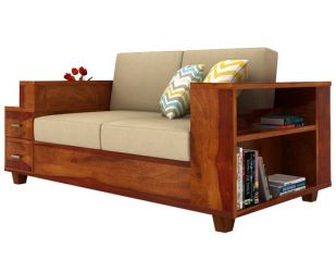 Solace 2 Seater Wooden Sofa (Honey Finish)