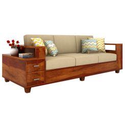 Solace 3 Seater Wooden Sofa (Honey Finish)