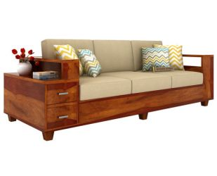 Solace 3 Seater Wooden Sofa (Honey Finish)