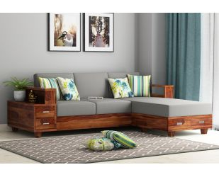Solace L-Shaped Wooden Sofa