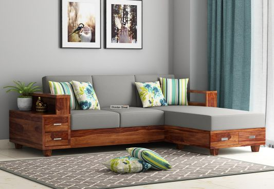 Buy Solace L Shaped Wooden Sofa Online In India Wooden