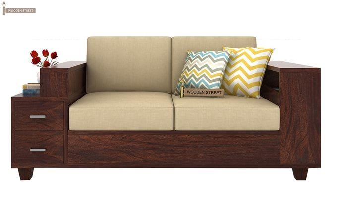 Solace 2 Seater Wooden Sofa (Walnut Finish)-3