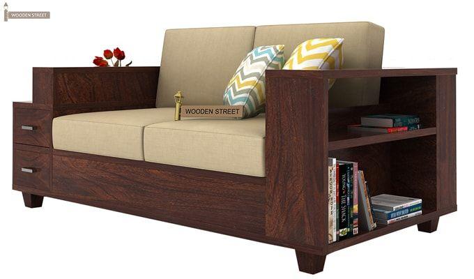 Solace 2 Seater Wooden Sofa (Walnut Finish)-2