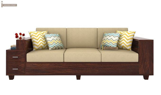Solace 3 Seater Wooden Sofa (Walnut Finish)-2