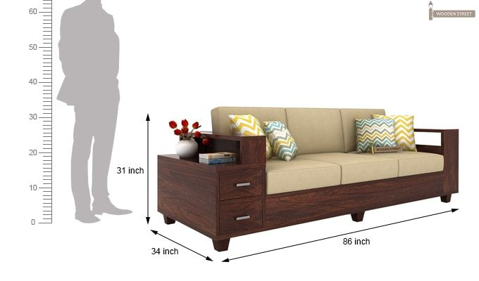 Solace 3 Seater Wooden Sofa (Walnut Finish)-4