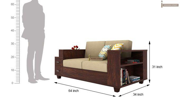 Solace 2 Seater Wooden Sofa (Walnut Finish)-5