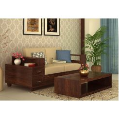 Solace 2 Seater Wooden Sofa (Walnut Finish)