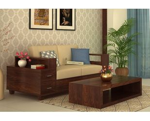 Solace 2 Seater Wooden Sofa (Walnut Finish)