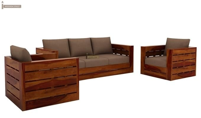 Stegen Wooden Sofa 3+1+1 Sets (Honey Finish)-2