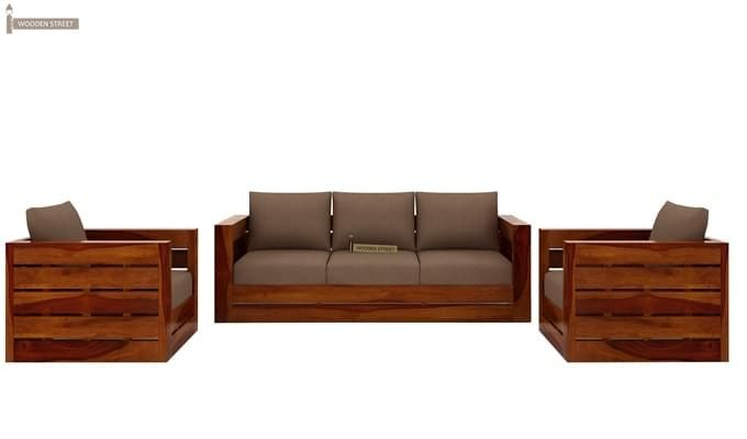 Stegen Wooden Sofa 3+1+1 Sets (Honey Finish)-3