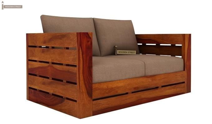 Stegen 2 Seater Wooden Sofa (Honey Finish)-1